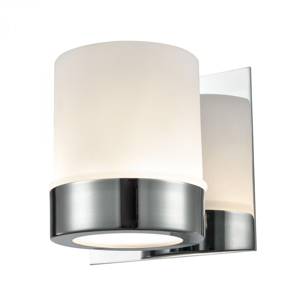 Mulholland 1 Light Vanity In Chrome And Opal Gla