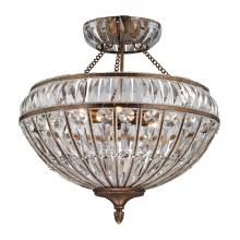 ELK Lighting 46045/6 - Empire 6 Light Semi Flush In Mocha And Clear Cry